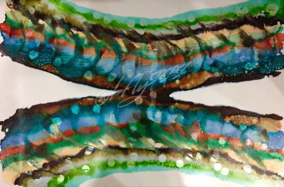 """Large Original Alcohol Ink Abstract: """"Larvae"""" (23"""" x 35"""")"""