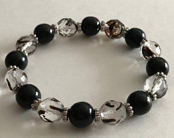 Black Bracelet, Opaque Black Beaded Bracelet, Clear/Black/Brown Glass Beaded Bracelet, Gift for Her, Handcrafted Bracelet