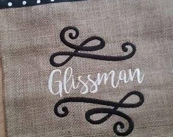 Personalized Burlap Garden Flag - Preppy flag - Double sided custom - New home, wedding, bridal shower, hostess gifts, teacher, retirement