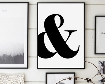 Ampersand, And Sign, Ampersand Print, Ampersand Poster, Scandinavian Typography, Modern Minimalist, Affiche Scandinave, Black and White Art