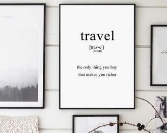Travel, Travel Definition, Inspirational Poster, Definitions 8x10, Travel Print, Scandinavian Art, Definitional Poster, Typography