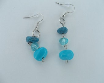 blue dangle earrings beautifully made one pair