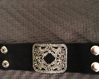 Vintage French Steel Cut Shoe Buckle Cuff Bracelet