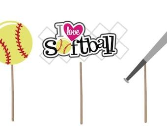 Softball Cupcake Topper, Birthday cupcake topper, Softball cupcake picks, birthday party, Softball party, softball party decoration