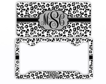 Personalized Monogram License Plate Car Tag Leopard   White Gray - Monogram Frame Personalized Set Custom Initials