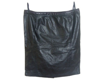Vintage Yessica C&A women skirt cowhide genuine leather black