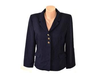 Vintage Scarva Woman women blazer navy blue