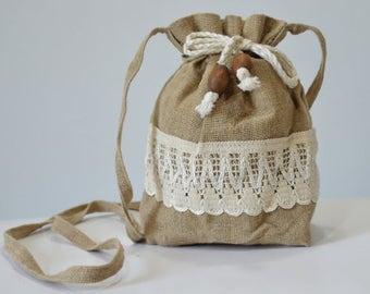Handmade purse - made of linen with original decoration