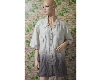 Vintage Ulla Popken women shirt top linen beige brown