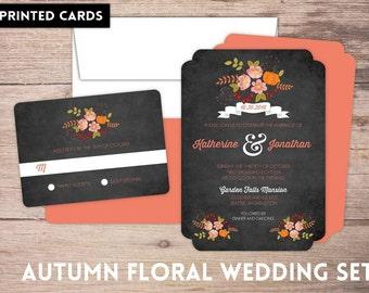 Wedding Invitations, Wedding Invitation, Personalized, Wedding Invites, RSVP card, RSVP's, Wedding invitation set, fall pumpkin florals