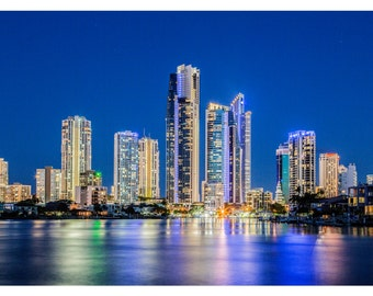 Surfers Paradise City Skyline at Dusk, Gold Coast, Australia - Photography Print