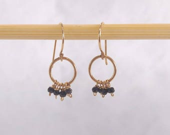 Gold-filled earrings with a hoop and spinel beads