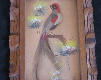 Mexican Real Feather Art Bird, Framed Red Bird Picture, Mexico Feather Craft, Hand Carved Wooden Frame