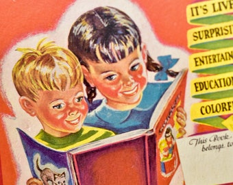 """Vintage Fold Out Childrens book """"The Picture Motion Book"""" from Popular Digest 1945 illustrated in Full Color"""