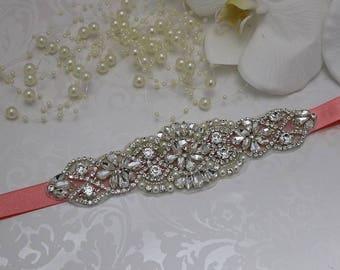 coral sash, coral bridesmaids sash, coral belt , bridal belt , rhinestone sash, bridal belt, beaded bridal belt, wedding sashes, bridesmaid