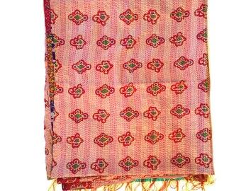 "Kantha Silk Fabric / XL - Scarf ""MEMARI""|textile|handmade| high quality silk shawl| sari patchwork | embroidery | kantha stiching| stola |"