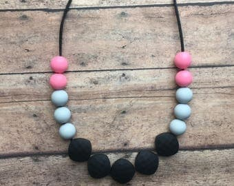 Pink and Gray Square Necklace