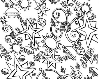 1 Space Out Colouring Page
