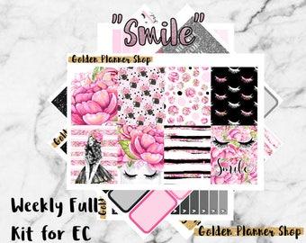 Smile Weekly Sticker Full Kit, Planner Stickers for Erin Condren Vertical Planner