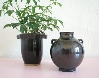 Black Bud Vase / Vintage Pottery Vase With Handles / Minimalist Vase / Ceramic Bud Vase