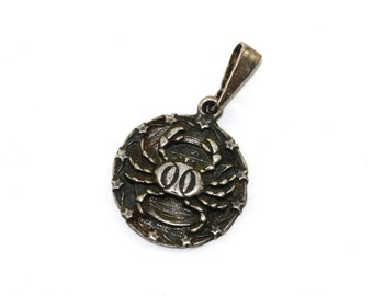 Vintage Zodiac Cancer Sign Pendant 925 Sterling Silver PD 407