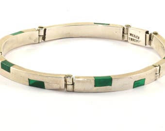 Vintage Graphic Design Malachite Bangle Bracelet 925 Sterling Silver BR 399-E