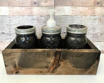 Mason Jar Bathroom Caddy - Rustic Bathroom Organizer - Maon Jar Soap Dispenser - Custom Rustic Home Decor