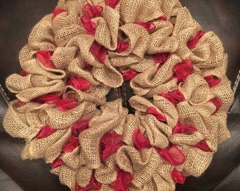 Handmade Burlap Wreath with Red Ribbon