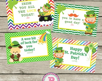 4 Lunch Box Notes St Patricks Day Cards St Pattys Day Instant Download Digital File Chevron Trendy Pot of Gold Puppy Rainbow Boy or Girl