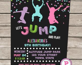 Trampoline Birthday Party Invitation Front Back Birthday Jump Bounce House Trampoline Park Pink Blue Purple Green Chalkboard Digital File