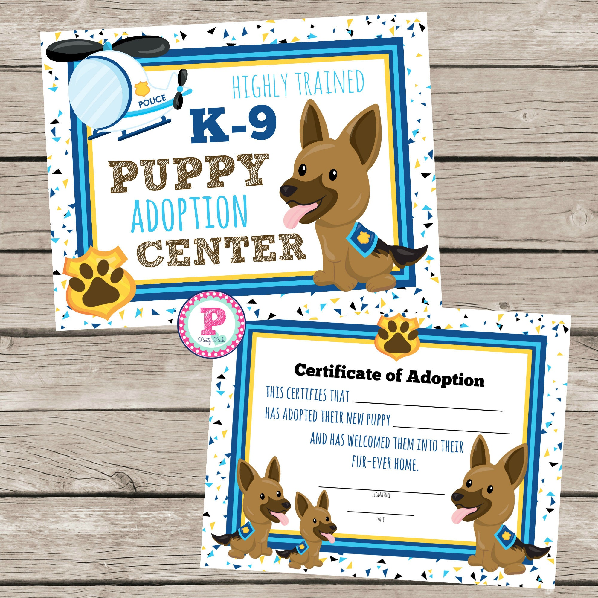 Puppy adoption certificate birthday party idea k 9 puppy adoption this is a digital file xflitez Gallery