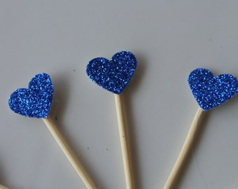 Blue Glitter Heart Cupcake Toppers (12ct) Bridal/Wedding/Engagement/All parties