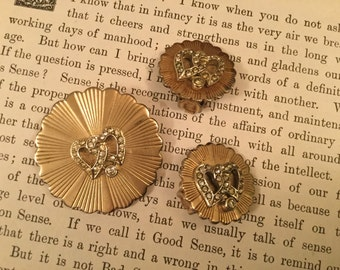 SALE! Vintage retro signed Marboux brooch and clip-on earrings with hearts (A105)