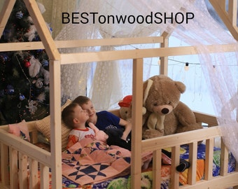200×90cm, house bed, tent bed, wooden house, wood house, wood nursery, teepee bed, wood house bed, wood bed frame, kids bedroom