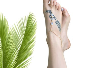 Barefoot Sandals   Foot Jewelry   Ankle Jewelry   Moonstone Barefoot Sandal