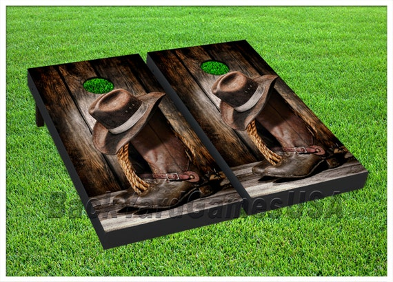 Vinyl Wraps Cornhole Boards Decals Cowboy Boots Hat Bag Toss