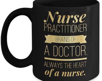 Nurse Practitioner Mug    Nurse Practitioner Gifts   NP Graduation Birthday Christmas Retirement Black Coffee Cup   Heart of Nurse
