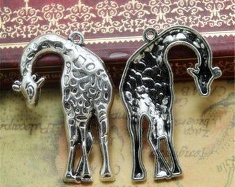 4pcs Giraffe Charms silver tone Animal Charm Pendants 28x42mm ASD0338