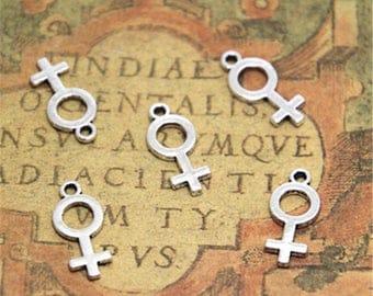 40pcs Female Symbol Charms Silver Tone Gender 8x18mm ASD1895
