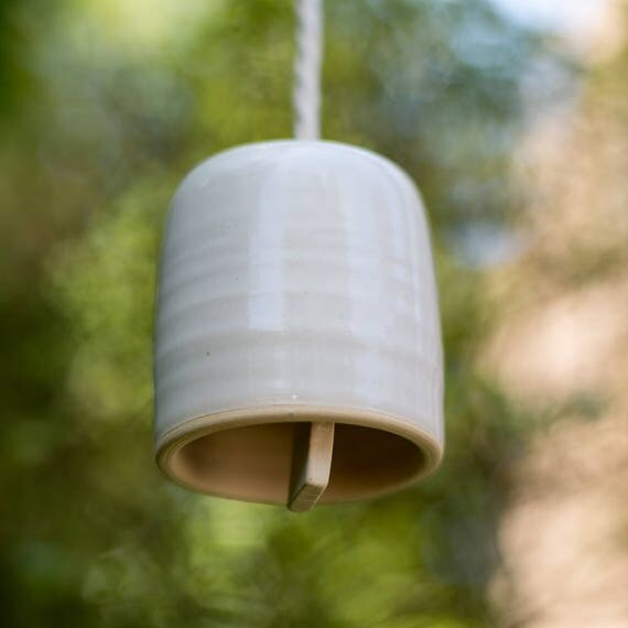Handmade Small Cylindrical Ceramic Bell Wind Chime Ready To Ship