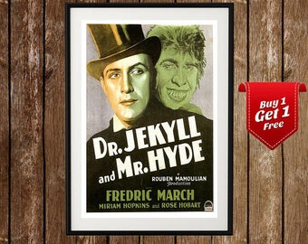 Dr. Jekyll And Mr. Hyde - Vintage Movie Poster,  Psychological Thriller, Classic Horror, Jekyll and Hyde, Classic Movie, Retro Movie Poster
