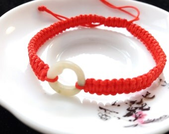 Lucky Chinese Red String Bracelet with a Piece of Natural Heart Jade Bead