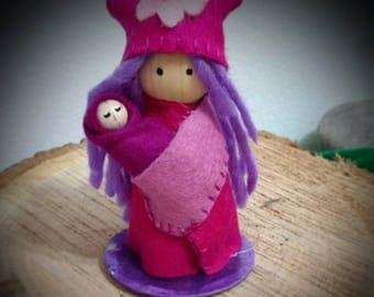 BABY with MOM pegdoll wool felt (Waldorf)