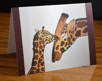 "Giraffe Note Card- Zoo Animal Greetings Card (Blank Inside)-  Original Art Print:  ""A Calf's Love"""