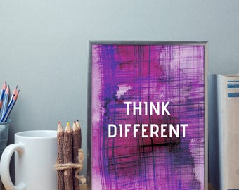 Motivational quote poster. Think Different. Printable Poster. Inspirational Quote. Poster.
