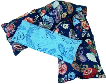 Hot cold neck pack, Heated bags, Microwave heating pad, Cold and heat packs, Navy Paisley Neck Wrap/Choice of Eye Pack, Gift for Mother