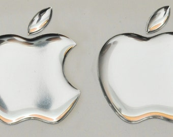 2 x 3D Mirror, domed Apple logo stickers for iPhone, iPad cover. Size 35x30mm.