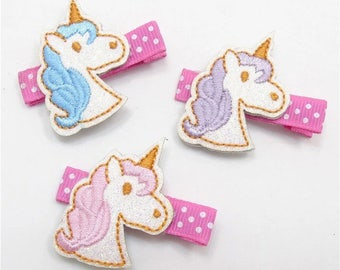 unicorn hair clip, pink unicorn clip, unicorn birthday party, unicorn party favor, felt unicorn clip, glitter unicorn clip, toddler hair