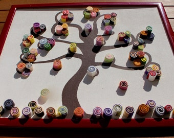 Tree of life painting with felt decorations