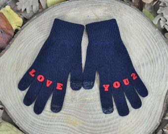 "Womens Gloves , Touchscreen Gloves , Texting Gloves , Winter Accessories , Handmade , Finger Tattoo , ""LOVEYOU2"" Tattoo with (Red) Font"